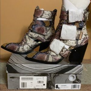 Jeffrey Campbell Caceres Grey Wine Snake Boots